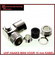 UHF-HAAKS MAN VOOR 10 mm COAXKABEL