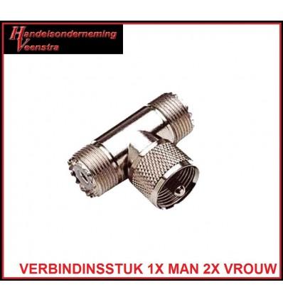 UHF CONNECTOR T STUK 1X MAN 2X VROUW