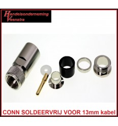 UHF CONNECTOR VOOR 13mm KABEL (SOLDEERVRIJ)