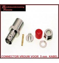 BNC CONNECTOR FEMALE FOR 5 mm COAX CABLE