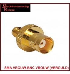 SMA VROUW-BNC VROUW (VERGULD)
