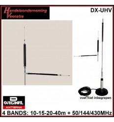 DX-UVH VOOR DE BANDEN :10-15-20-40M +50/144/430MHz